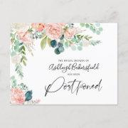 Bridal Shower Postponed Date Blush Pink Floral Announcement Postinvitations
