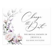 Bridal Shower Postponed Date Elegant Blush Roses Postinvitations