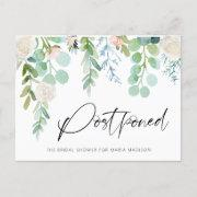 Bridal Shower Postponed Watercolor Floral Greenery Announcement Postinvitations
