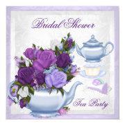Bridal Shower Purple Blue Floral Tea Party