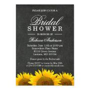 Bridal Shower Rustic Sunflower Black Chalkboard