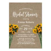 Bridal Shower Rustic Sunflower Vintage Burlap Invitation