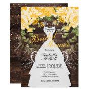 Bridal Shower - Rustic Yellow Botanical Flowers Invitation