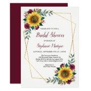 Bridal Shower Sunflowers Geometric Floral Invitation