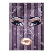 Bridal Shower Sweet 16th Rose Eyes Glitter Purple Invitations