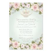 Bridal Shower Tea Party Blush Rose Succulent Leaf Invitation
