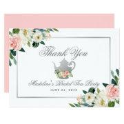 Bridal Shower Tea Party Thanks Pink Floral Silver Invitations