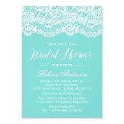 Bridal Shower Tiffany Blue Elegant Lace Pattern