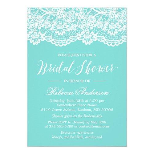 Bridal Shower Tiffany Blue Elegant Lace Pattern