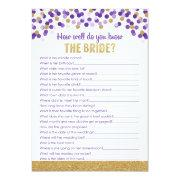 Bridal Shower Trivia Game- Purple And Gold