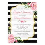 Bridal Shower Watercolor Floral Gold Glitter Decor