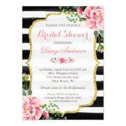 Bridal Shower Watercolor Floral Gold Glitter Decor Invitations