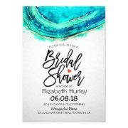 Bridal Shower Watercolor Teal & Gold Agate Geode