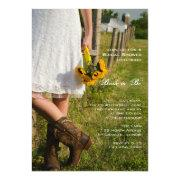 Bride, Boots and Sunflowers Country Bridal Shower Custom Announcements