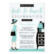 Bride & Brunch Shower Invitation, Blue, Black