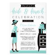 Bride & Brunch Shower Invitation, Blue, Black Invitation