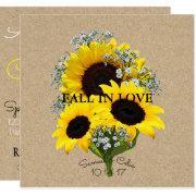 Bride & Co Kraft Autumn Bride Sunflower Invitation