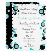 Bride & Co Teal Blue Black Polka Dot Party Shower Invitation