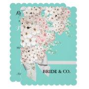 Bride Flowers & Lattice Teal Blue Tiara Party Invitation