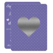 Bride Purple Plum Silver Polka Dot Shower Party Invitation