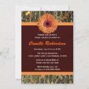 Brown And Orange Daisy Bridal Shower Invitation