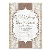 Brown Linen Burlap Lace Bridal Shower Invitations Invites