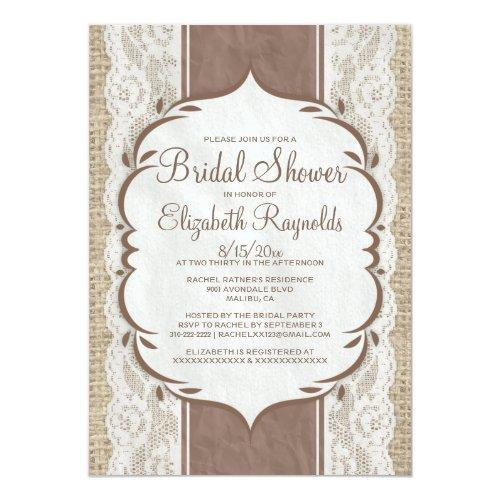 Brown Linen Burlap Lace Bridal Shower