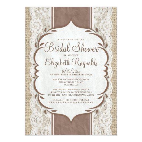 Brown Linen Burlap Lace Bridal Shower Invitations