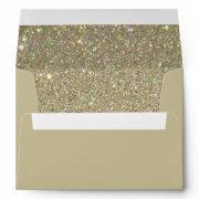 Brown Sand Envelope, Gold Glitter Lined Envelope