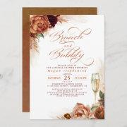 Brunch And Bubbly Bridal Shower Rust Pampas Grass Invitation