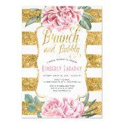 Brunch And Bubbly Gold Floral Bridal Shower