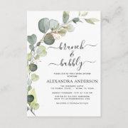 Brunch & Bubbly Bridal Shower Greenery Eucalyptus Invitation