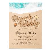 Brunch Bubbly Bridal Shower Summer Beach Starfish Invitation
