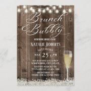 Brunch & Bubbly Rustic Bridal's Breath Bridal Shower Invitation