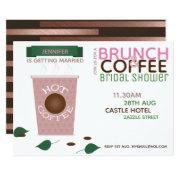 Brunch Coffee Bridal Shower Invitations Pink Green