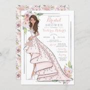 Brunette Bride Floral Bridal Shower Invitation