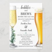 Bubbles And Brews Before I Do Shower Greenery Invitation
