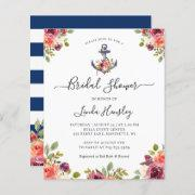 Budget Nautical Anchor Floral Bridal Shower Invite