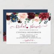 Burgundy Bloom Floral Navy Blue Bridal Shower Invitation