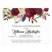 Burgundy Bloom Floral Preprinted Return Address Postinvitations