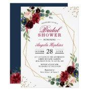 Burgundy Blue Floral Gold Geometric Bridal Shower Invitation