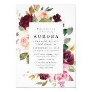 Burgundy Blush Pink Gold Floral Bridal Shower Invitation