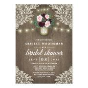 Burgundy Blush Pink Gold Mason Jar Bridal Shower Invitation