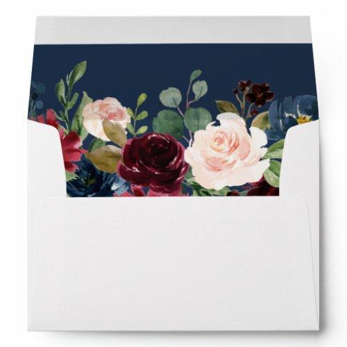 Burgundy Botanical Floral Navy Blue For Invitations Envelope