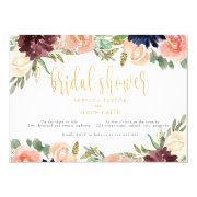 Burgundy Bridal Shower Floral Landscape Invitation