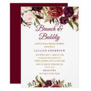 Burgundy Floral Brunch And Bubbly Bridal Shower
