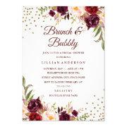 Burgundy Floral Confetti Brunch And Bubbly Shower Invitations