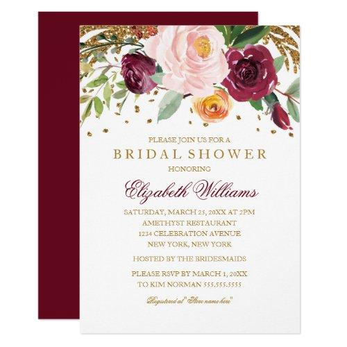Burgundy Floral Glitter Sparkling Bridal Shower Invitation