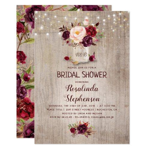 Burgundy Floral Mason Jar Rustic Bridal Shower Invitations