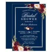 Burgundy Floral Navy Blue Winter Bridal Shower
